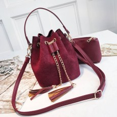 New Mini Crossbody Handbags Cute Suede Bucket Bag Organizer Small Tassel PU Leather Womens Shoulder Messenger Bags