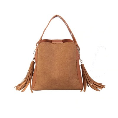 Fashion Scrub Women Bucket Bag Vintage Tassel Messenger Bag High Quality Retro Shoulder Bag Simple Crossbody Bag Tote