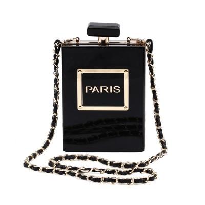 2020 new European and American fashion perfume bottle transparent dinner bag chain shoulder messenger bag banquet dress clutch