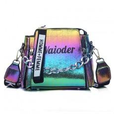 Laser Women Letter Shoulder Bag INS Popular Female Handbag Holiday PU Messenger Bags For Lady Design Exquisite Crossbody Bucket