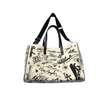 2020 new Japanese canvas bag, graffiti personality, large-capacity tote bag, contrast letters, one shoulder diagonal bag, women