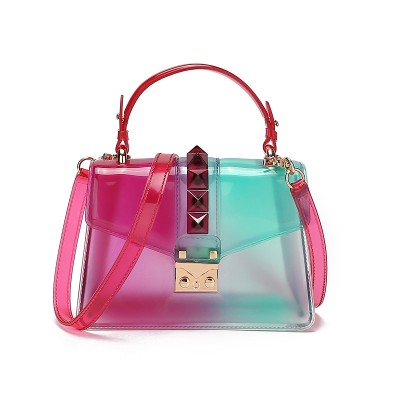 2020 new fashion trend handbag gradient transparent jelly bag rivet bag color one shoulder messenger small square bag