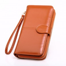 Hot sale oil wax leather wallet cross-border oil leather mobile phone bag long zipper coin bag women's card holder bill holder H680
