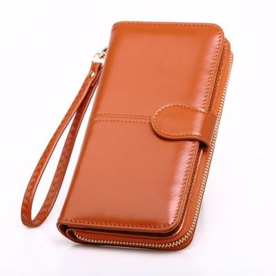 Hot sale oil wax leather wallet cross-border oil leather mobile phone bag long zipper coin bag women's card holder bill holder H680