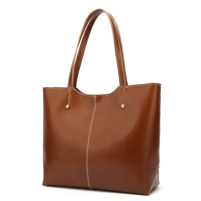 Women's bags Europe and the United States shoulder bag retro all-match oil wax leather big bag