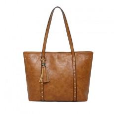 European and American fashion retro large capacity handbag rivet simple shoulder bag