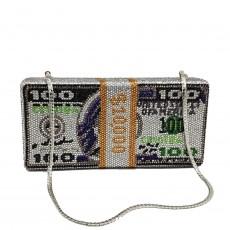 欧美晚宴包烫钻美元手拿包美金宴会包派对晚装包