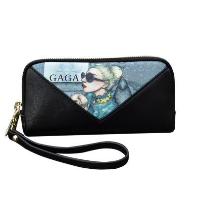 Contrasting color graffiti clutch bag ladies large-capacity mobile phone bag