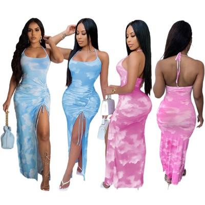 European and American women's sexy fashion cloud print halter dress