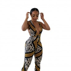 Sexy European and American women's suspenders wrapped chest printed jumpsuit