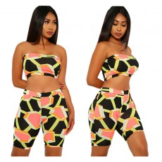 Fashionable European and American women's irregular geometric tube top pants suit