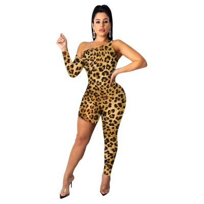 Sexy European and American women's asymmetrical leopard print jumpsuit