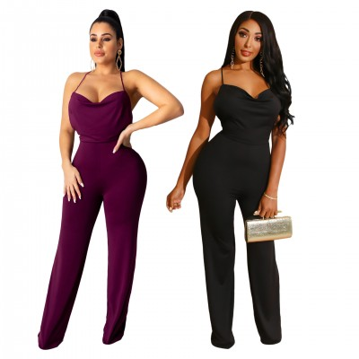 Sexy European and American women's solid color strappy open back jumpsuit