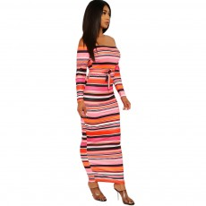 Fashion sexy European and American women's striped strapless dress