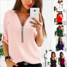Hot selling solid color zipper women's t-shirt top