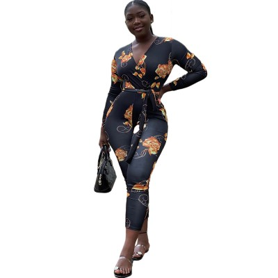 Sexy European and American women's printed long-sleeved skinny jumpsuit
