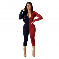 Sexy fashion European and American women's contrast color stitching jumpsuit