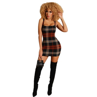 Sexy fashionable European and American women's off-shoulder check dress
