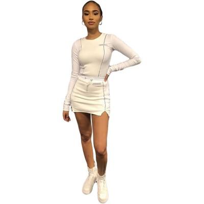 Fall new women's reflective side strip long sleeve split skirt suit