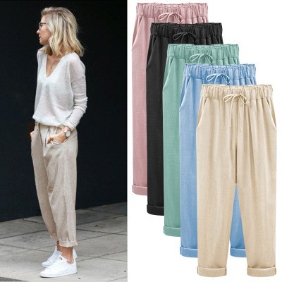 European and American thin casual cropped trousers European and American straight pants fat mm plus fat plus pants