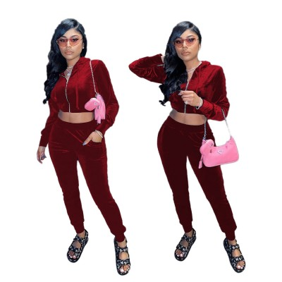 Fashion sexy European and American women's cropped autumn and winter hat pocket zipper suit