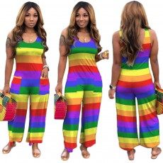 Fashionable European and American women's rainbow striped loose jumpsuit
