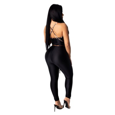 Sexy European and American women's stitching open back lace-up jumpsuit