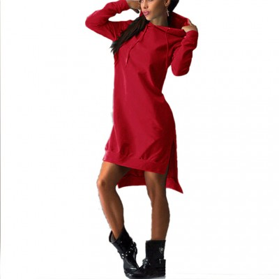 2020 autumn and winter European and American hot style fleece hooded women's dresses