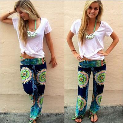 Explosive style pants Women's printed wide-leg pants Women's spring trousers Amazon Explosion style fashion pants