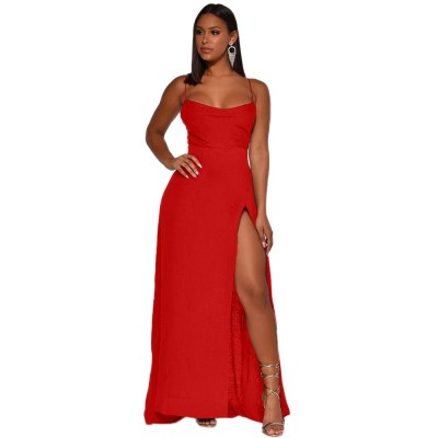 Sexy European and American women's solid color split open back dress