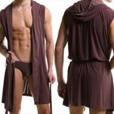 European version of men's bathrobe, men's sleeveless silky pajamas, men's hooded nightgown, bathrobe, men's ultra-thin home wear