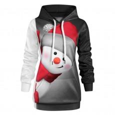 Christmas Digital Print Snowman Hooded Long Sleeve Christmas Pullover