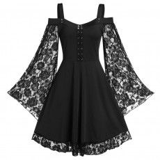 Sexy tube top sling lace lace-up eyelet women's dress mid dress