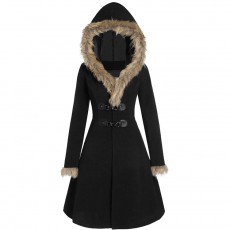 European and American women's fur hat cuffs long sleeves alloy leather buckle Slim double-sided woolen mid-length coat