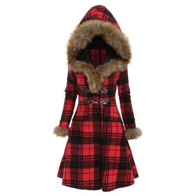 Hooded fur alloy buckle slim-fit plaid long-sleeved European and American women's woolen mid-length coat