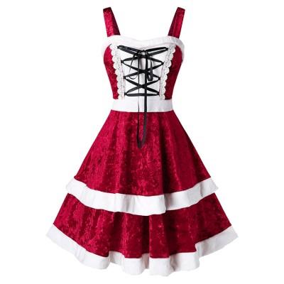European and American women's tube top strap lace lace contrast color ruffled diamond velvet mini dress