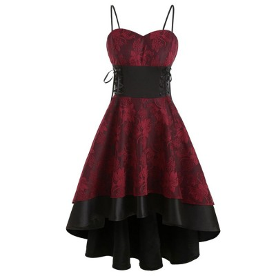 European and American women's tube top sling fishtail large lace lace hollow lace dress dress