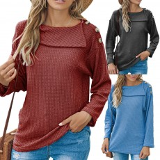 Fall/winter women's hot style, a shoulder button fashion sweater T-shirt long-sleeved top