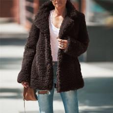 European and American women's fall/winter coat solid color lapel long sleeve thick granular velvet