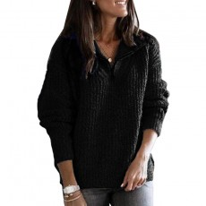 Hot sale new European and American women's solid color long-sleeved zipper pullover knitted sweater
