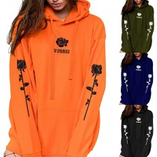 European and American women's 2020 autumn and winter new plus velvet long-sleeved hooded printed sweater