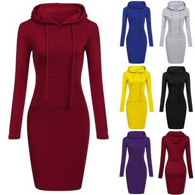2020 autumn and winter hot selling women's hot style solid color hooded long-sleeved dress
