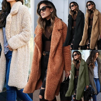 2020 autumn and winter hot sale in Europe and America hot fashion mid-length solid color women's plush jacket