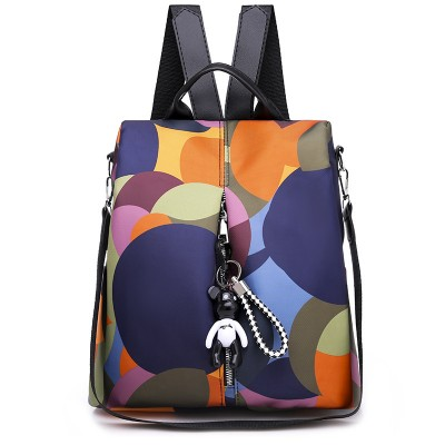 Anti-theft backpack, new student female Oxford cloth schoolbag, one-shoulder diagonal color printing functional bag