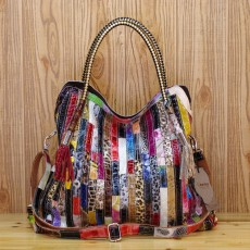 Genuine leather cowhide snake pattern colorful stripes and one shoulder diagonal special trendy handbags