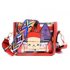 2020 new Korean ladies PU small bag fashion printing jelly shoulder bag transparent bag