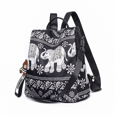 Ethnic style retro wild 2020 new printed backpack travel backpack female bag lightweight Oxford fabric backpack