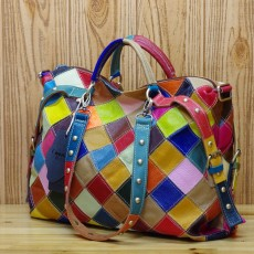 Cowhide colorful contrast color fashion personality trendy bag ladies single-shoulder handbags