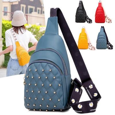 New women's chest bag fashion trendy soft PU Korean version 2020 珋nail shoulder messenger bag wild outdoor leisure backpack