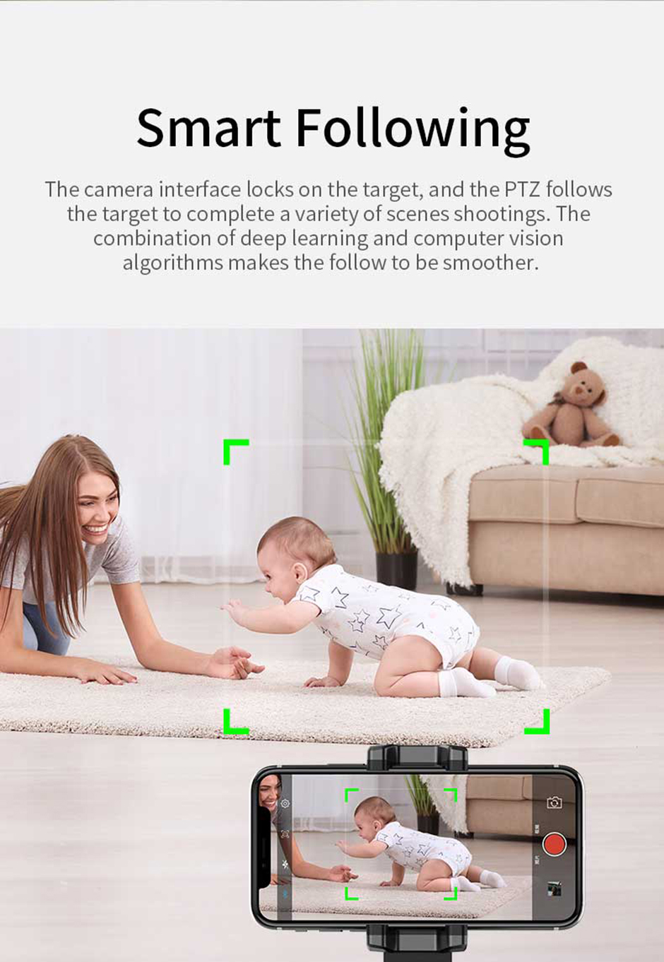 Hot Sale Live Artifact Auto 360 intelligent follow-up camera, object tracking, face recognition, APP control Mobile phone holder 4